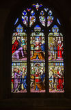 Glass window in a church in orbec Stock Images