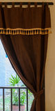Glass window with curtain Royalty Free Stock Images