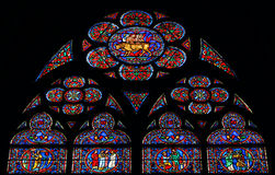 Glass window of Notre Dame Stock Images