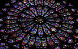 Glass window in Notre Dame Royalty Free Stock Photography