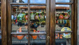 Glass window of souvenir shop royalty free stock image