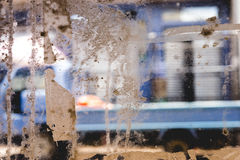 Glass Window Texture with Masking Tape Remains Royalty Free Stock Photography