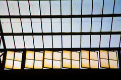 Glass of window in trainstation Royalty Free Stock Photo
