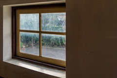 Glass window with wooden frame Stock Image