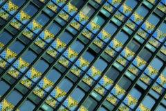 Glass window with yellow pattern. Glass window with yellow geometric pattern royalty free stock photography
