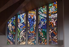 Glass Windows in Monserrate Church Bogota Colombia Stock Image