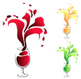 Glass with wine. Beauty glass with wine, vector Stock Photography