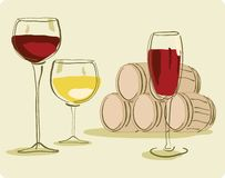Glass of Wine. And Wine Barrel Stock Images