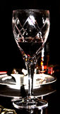 Glass & Wine. Goblet with red wine, partly emptied Royalty Free Stock Photography