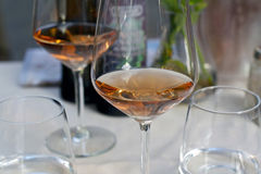 Glass with wine. Glasses with coid rose wine and water Stock Image