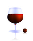 Glass of wine. Tempting glass of red wine and lovely little cherry Royalty Free Stock Image