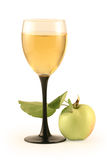 Glass of wine and apple stock image