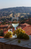 Glass wine on a background of mountains Stock Photography