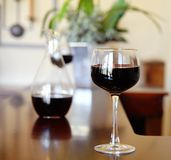 Glass of wine  Bar Table Royalty Free Stock Image