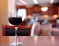 Glass of wine  Bar Table Stock Photo