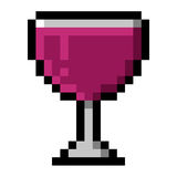 Glass of wine pixel art Royalty Free Stock Photo