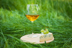 Glass of wine with blue cheese and grapes outdoors Stock Image