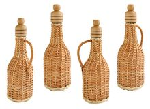 Glass wine bottle braided straw. Isolated on white background Stock Image