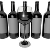 Glass of wine and bottle Royalty Free Stock Photo