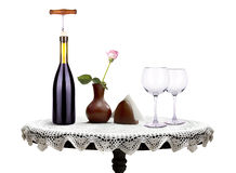 Glass of  wine and a bottle with flower Stock Photography