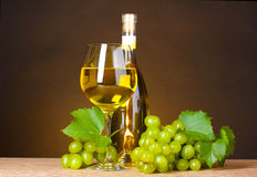 Glass of wine,bottle and grapes Royalty Free Stock Image
