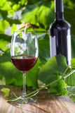 Glass of wine. Glass and bottle of vintage red wine on a table. Outdoor shot Stock Photos