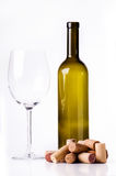 Glass Wine. Wine bottle and wine glass on white background Royalty Free Stock Image