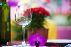 Glass and wine bottles on the table Stock Image