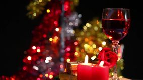 Glass of Wine, Candles and Rose. Video very useful in valentines day birthday or new year concept stock footage