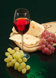 Glass Of Wine, Cheese And Grape Royalty Free Stock Photography