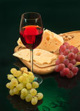 Glass Of Wine, Cheese And Grape Stock Photos