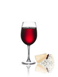 Glass of wine and cheese isolated Royalty Free Stock Image