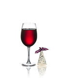 Glass of wine and cheese isolated Stock Photography