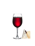 Glass of wine and cheese isolated Stock Photos
