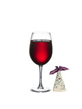 Glass of wine with cheese isolated on a white background. Glass of wine and cheese isolated on a white background Stock Images