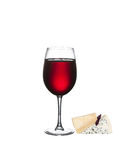 Glass of wine with cheese isolated on a white background. Glass of wine and cheese isolated on a white background Royalty Free Stock Photography