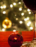 Glass of Wine at Christmas Stock Photography