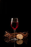 Glass of Wine, Crackers, and Crown of Thorns Royalty Free Stock Image