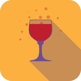 Glass wine flat design stylized  party drink icon Royalty Free Stock Images