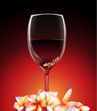 A glass of wine with flowers vector illustration