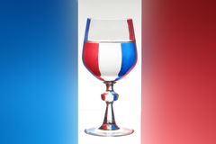 Glass of wine frech flag Stock Images