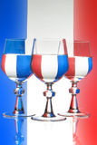 Glass of wine french flag Stock Photo