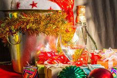 Glass of wine and gifts Royalty Free Stock Photo