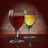 Glass wine glass with red wine, white wine, cider. A realistic, transparent. Brick wall. Vector. Two glasses of wine, a cocktail or cider in the background of a Royalty Free Stock Photo