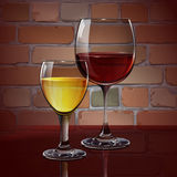 Glass wine glass with red wine, white wine, cocktail, cider. A realistic, transparent. Brick wall. Vector. Different glasses for drinks. Glass wine glass with Stock Photo