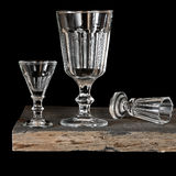 Glass wine glasses on a black background Stock Image
