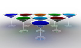 Glass wine glasses with colored liquid №1 Stock Photo