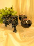 Glass of wine and grape Stock Photos