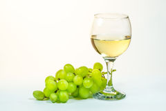 Glass of the wine and grape Stock Photos