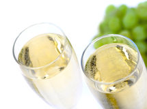 Glass of wine with grape. Close up Stock Image